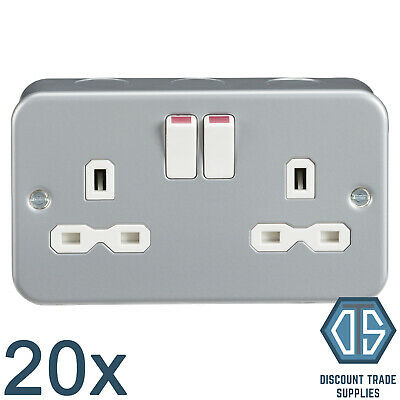 20x 13 Amp Heavy Duty Metal Clad 2 Gang Twin Switched Double Pole Plug Socket