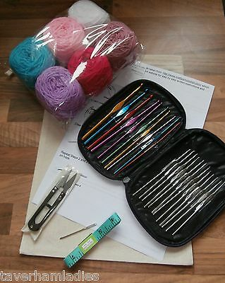 Deluxe Beginners Crochet Starter Kit, Bag, Hooks,Tape Wool, Needle,Snips Instruc
