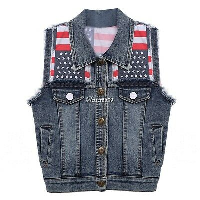 Boys Kids Toddlers Denim Vest Jean Waistcoat Jacket Outerwear Coat Clothes BF9