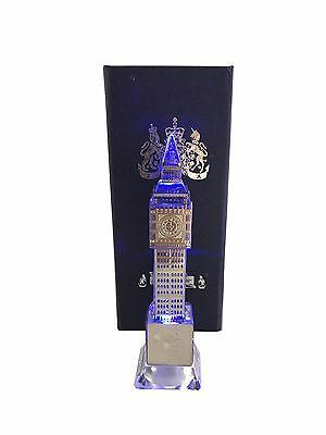 London Big Ben Crystal Silver Plated with changing lights Souvenir Gift