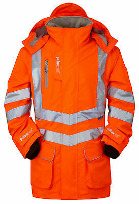 Pulsarail PR502 High Vis Orange Storm Coat Padded