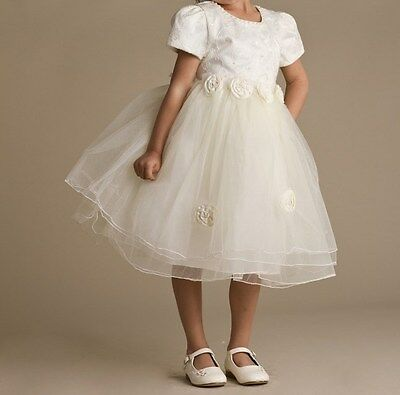 Girls Ivory Dress Wedding Christening Bridesmaid Flower Girl Dresses Party Dress