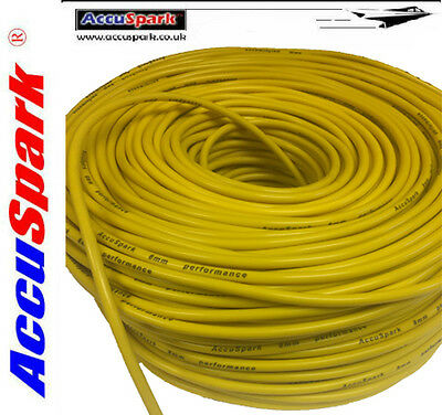 8mm Yellow Silicone Genuine AccuSpark  Ignition HT lead , wire. 1 Meter