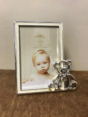 Teddy  Rocking Horse Photo Frame Silver Plated Boy - Girl Baby Christening Gift