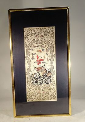 Antique Chinese Embroidered Silk Robe Panel Boy Dragon Silver Wrapped Threads