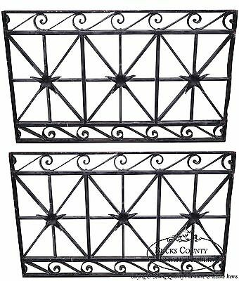 Antique Hand Wrought Iron Pair of Black Iron Regency Style Wall Grates (B)