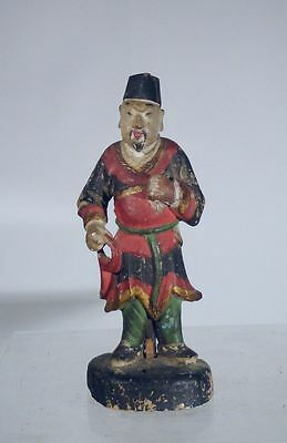 Antique Chinese Carved Attendant Mandarin Official Polychrome Boxwood Ming Style