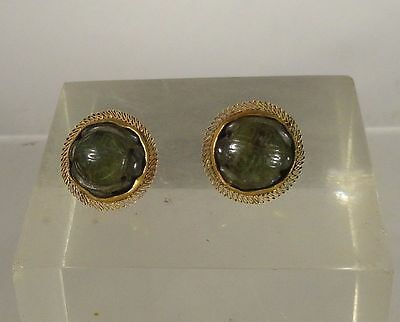 Antique Chinese Nephrite Jade Earrings 14k Gold Marked Shou Mandarin Court Bead