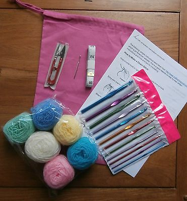 Beginners Learn Crochet Starter Kit,12 Hooks,Wool,Bag, Instructions, Accessories