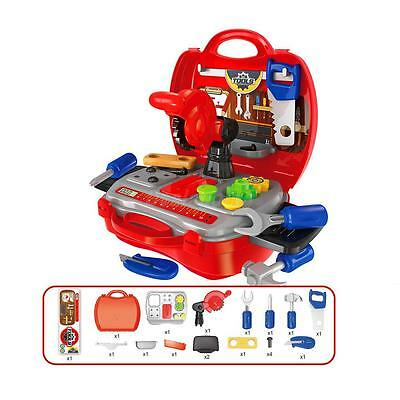 Kids Baby Repair Builder Tools Construction Kit w.Case Toy Pretend Play Red