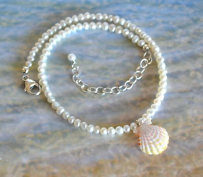Beach Girl Hawaiian Sunrise Shell Ankle Bracelet on Small Pearls - 10 to 12 inch