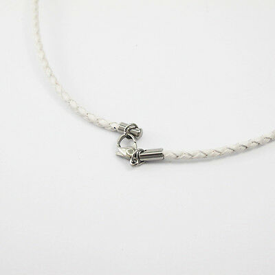 """13"""" 14"""" 35cm White Leather Choker Necklace Silver Stainless Steel Lobster Clasp"""