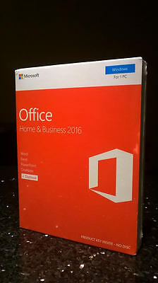 Microsoft Office Home & and Business 2016 Windows for 1 PC ~Genuine Retail Box~