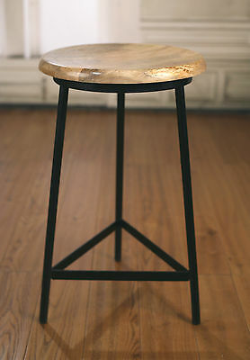 3 x Stools French Industrial Metal Base Hardwood Provincial Rustic Barstools
