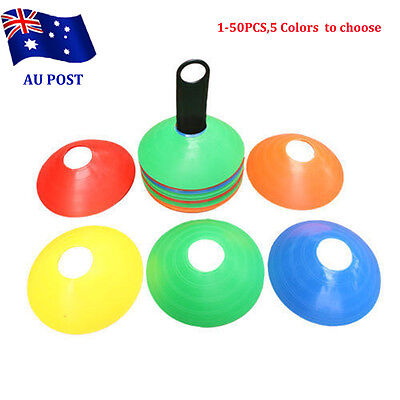 1-50 Pack Sports Training Discs Markers Cones Soccer Rugby Fitness Exercise BO