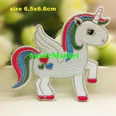 1 x unicorn patch patches girls jeans dress iron on sew on child kids horse pony