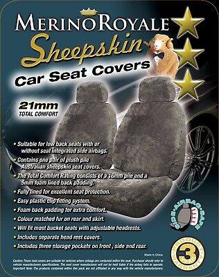 Sheepskin( Lambswool) Car Seat Covers 21mm TC ,Seat Air Bag Safe , 2 colours.