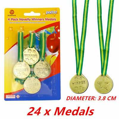 24 X OLYMPIC Gold Medals Children Kids Plastic Winner Costume Party Toys - PARTY