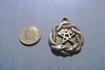Six Pewter Pentagram With Snakes  Pendants