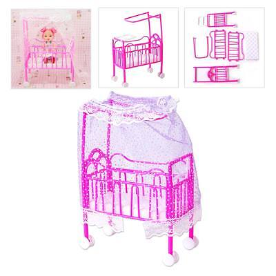 New Barbie Doll Bedroom Nursery Cradle Bed Miniature Dollhouse Toy Furniture