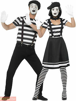 Adults Mime Artist Fancy Dress Mens Ladies French Circus Costume Street Outfit