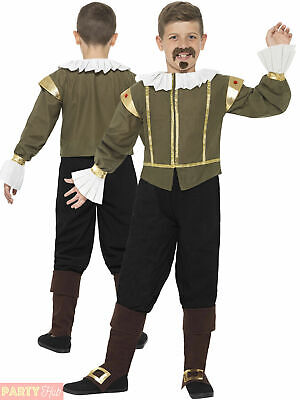 Child Shakespeare Costume Boys Tudor Medieval Fancy Dress Book Week Day Poet