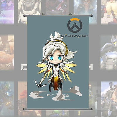 Overwatch Mercy Q Cute Home Decor Poster Wall Scroll Painting  60cm*40cm
