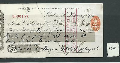 wbc. - CHEQUE - CH130 - USED -1890s - BANK of ENGLAND, LONDON  + counterfoil