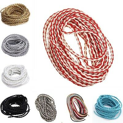 5m/100m Round Bolo Braided Man-made Leather Cord Thread For Jewelry Making 3mm