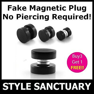 Magnetic Fake Flesh Plug Earring Ear Stretcher Clip-on Stud Magnet Mens Piercing