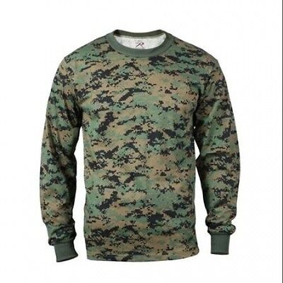 Woodland Digital Camo Long Sleeve T-shirt, Mens Size L. Delivery is Free