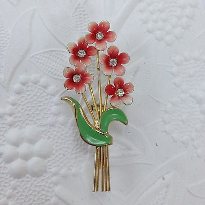 Vintage 1970's Enamelled Bouquet Of Daisies Pin With Rhinestone Centres
