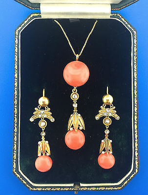 C. 1900s Victorian Coral, Pearl, and Diamond Yellow Gold Necklace & Earrings Set