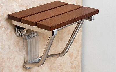 New Folding Shower Seat Bench Wall Mount Solid Wood Construction Bath Stool Safe