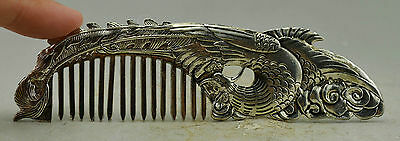 Chinese Decorated Miao Silver Carved Delicate Phoenix Comb Statue