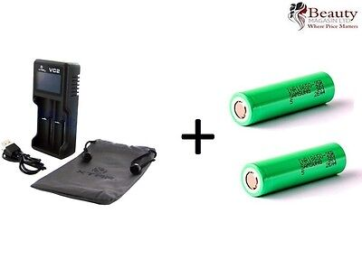 XTAR VC2 LCD Screen USB Battery Charger with Samsung 18650 2500mAh Battery x 2