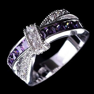 Amethyst & white  zircon 925 silver fashion Wedding Jewelry New  rings size 6-12