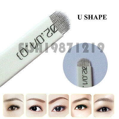 U Shape Microblading Eyebrow Tattoo Permanent Makeup Manual Blade 18 Needles NEW