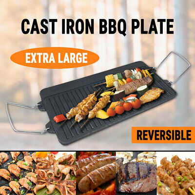 Cast Iron BBQ Round Plate w/ Handle Barbecue Griddle Grill Camping Cookware