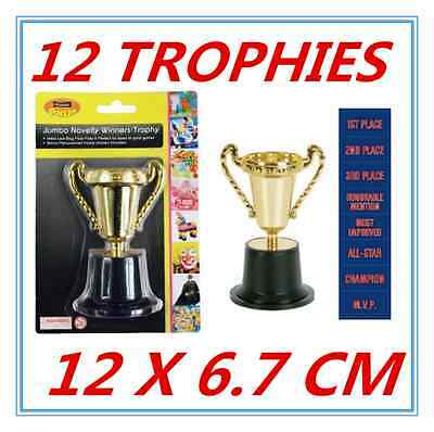 12 X Large Novelty Party Gold Winner Trophies - Birthday Party, Event, Olympic F