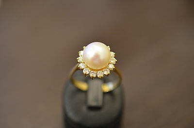 Bague - ring - pearl - gold 18KT -  diamonds  - T56