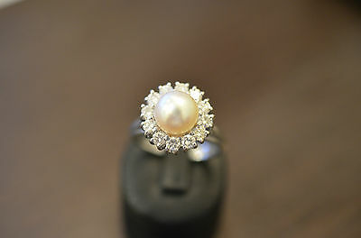 Bague - ring - pearl - gold 18KT -  diamonds  - T58