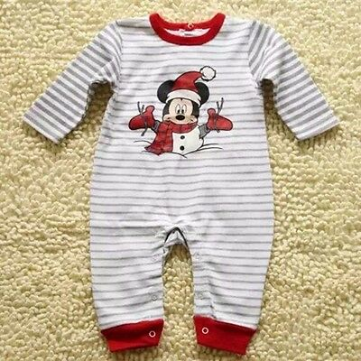 Chrismas Toddler Baby Romper One-Pieces Long sleeve Outfits Clothing Mickey