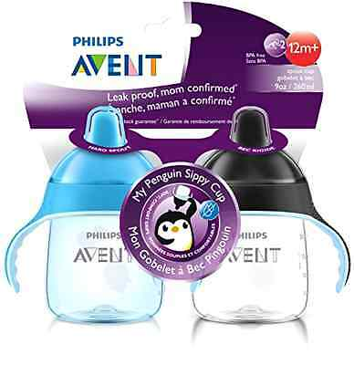 Infant Sippy Cup Baby Feeding Philips Avent Penguin Collection Blue Pack Of 2