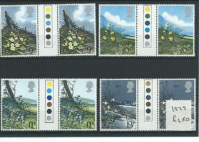 wbc. - GB - COMMEMS - 1979 - WILD FLOWERS  - T/L GUTTER PAIRS - UNM MINT SETS