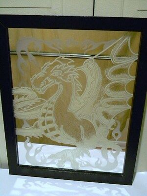 Dragon On Mirror Framed Picture Wall Hanging 15X12 Unique
