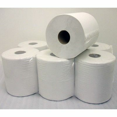 6 x 2 Ply White Centre Feed Embossed Paper Wipes Rolls Hand Towel Tissue