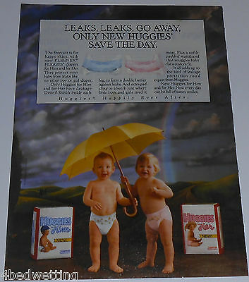 1990 vintage ad page - HUGGIES HIM & HER DIAPERS - 1-PAGE PRINT ADVERT rare
