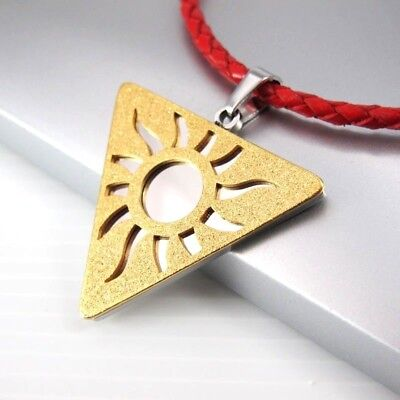 Silver Gold Triquetra Pendant Red Braided Leather Egyptian Jewellery Necklace
