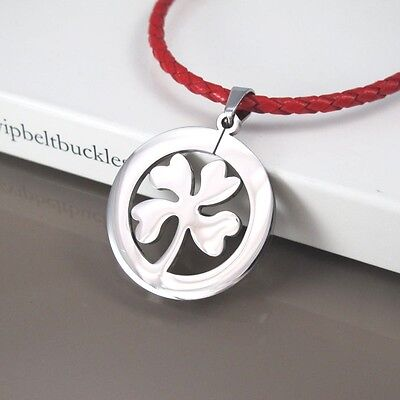 Silver Stainless Celtic Four Leaf Clover Pendant Braided Red Leather Necklace